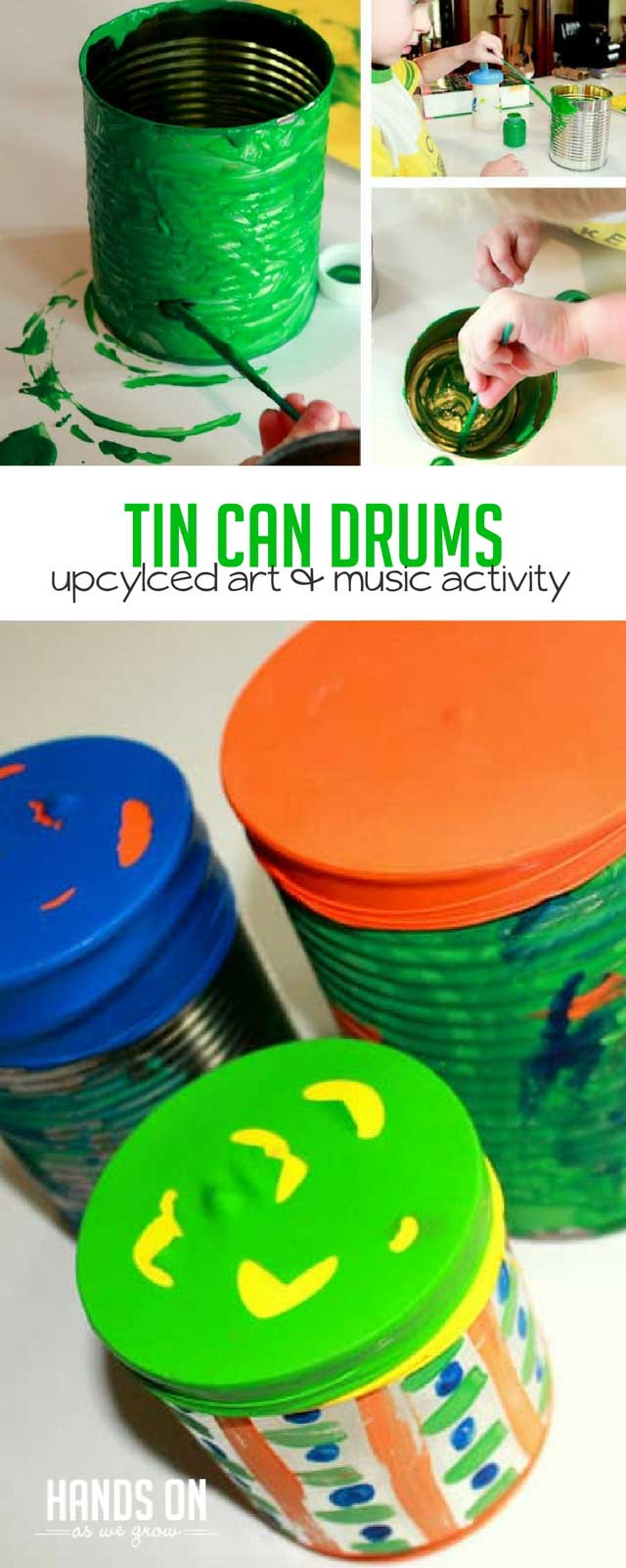 Create colorful upcycled tin can drums with an art activity that is perfect for toddlers and preschoolers! A homemade drum is fun to play and easy to craft with kids!