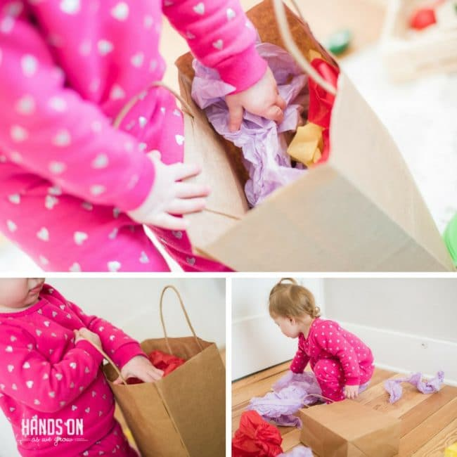 Tissue paper bag activity for toddlers and babies to grab and explore