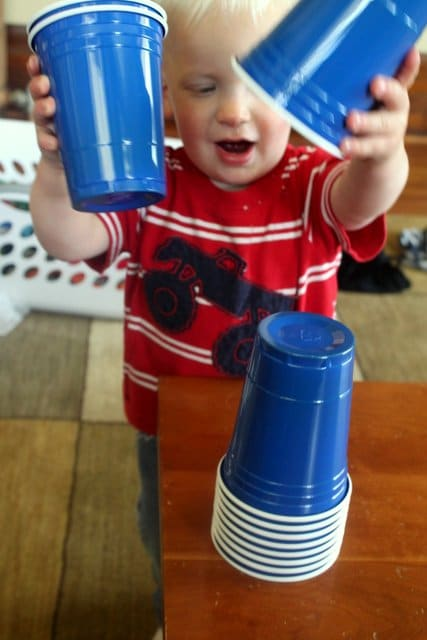Plastic Cups. Leftover plastic cups from a birthday party (or two or three)? Just hand a stack to your toddler. They'll find something to do with them.