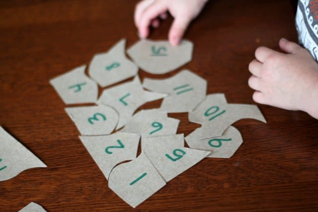 Use cereal box puzzles to help your child sequence numbers