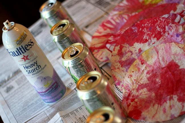 Materials for craft: Colored Coffee Filters, Pop Cans, and Spray Starch