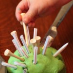 Play Dough with Tees, Straws & Pipe Cleaners