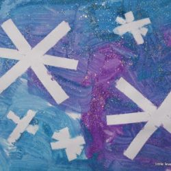 Use tape to make water resistant snowflake art from Little Learners Lounge
