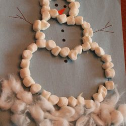 Use marshmallows to make a snowman, with this craft from Hands On As We Grow