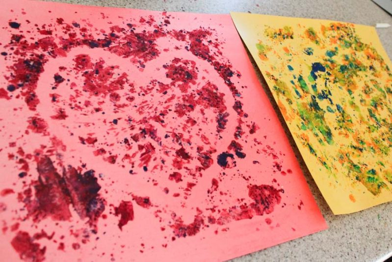 Use up old crayons by making melted crayon art with the shavings! Make fun designs from different color schemes!