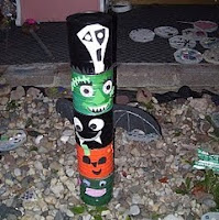 Tin can totem pole for Halloween