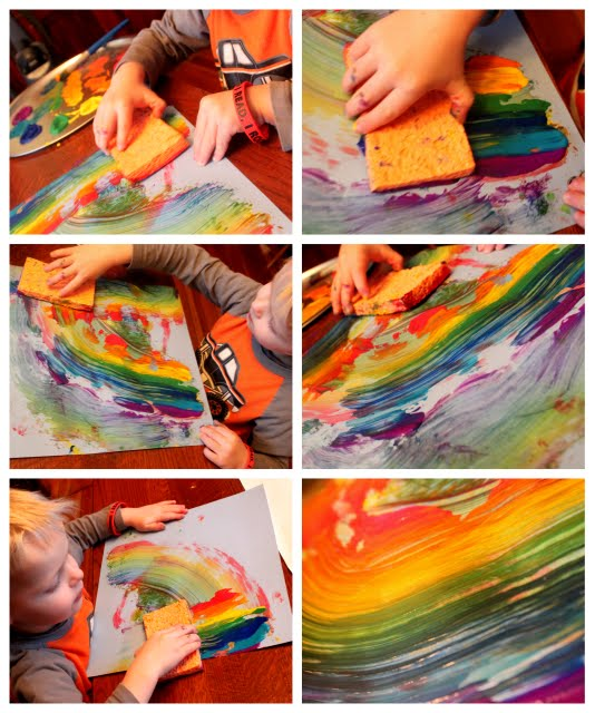 Rainbow sponge painting is super cool!