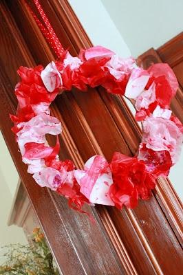Valentine's Day Craft: Tissue Wreath