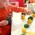 Play Dough Noodle Threading Activity