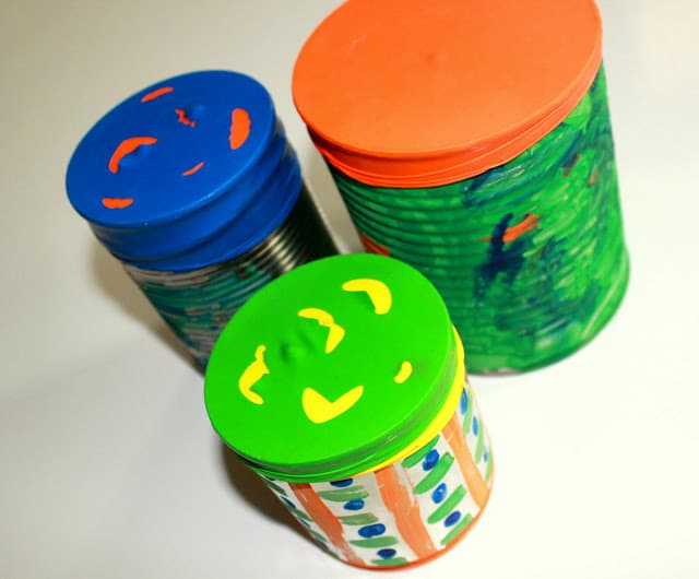 Build your own colorful tin can drums with an easy art activity for preschoolers