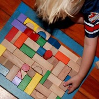 Floor Puzzle Activity with Blocks