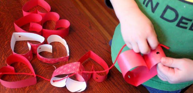Valentine Craft for Kids: Strings of Hearts Chandelier