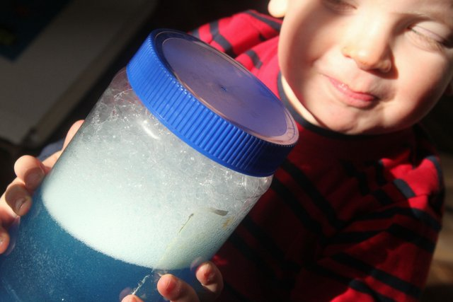 Sensory activity for toddlers - a simple sensory jar to make with soap!