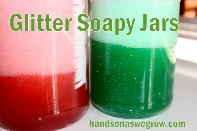 Glittery Soapy Jar Sensory Activity for Toddler