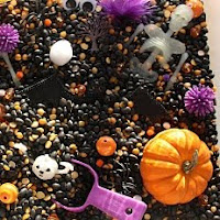 Pumpkin sensory tub. One of the 40 pumpkin activities for kids.