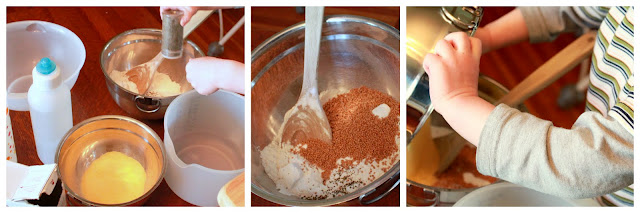 free play: mixing together ingredients (corn meal, flour, baking soda)