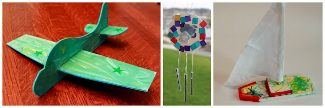 airplane, wind chime and sailboat crafts from Green Kid Crafts