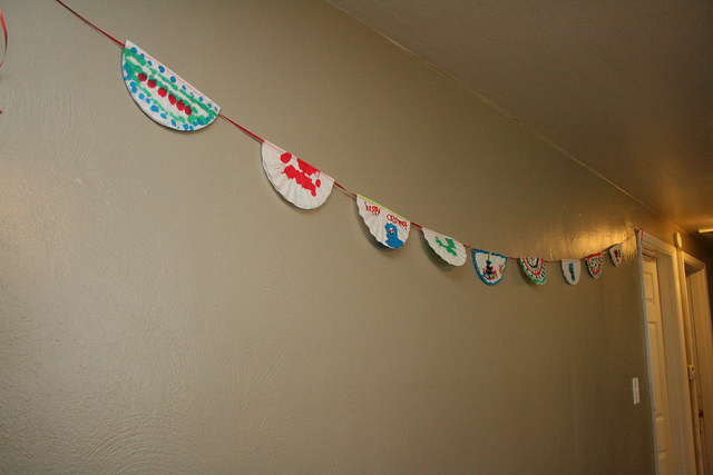 Coffee filter Christmas holiday banner