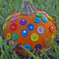 Cute buttons. One of the 40 pumpkin activities for kids.
