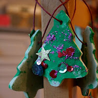 Homemade salt dough tree ornaments