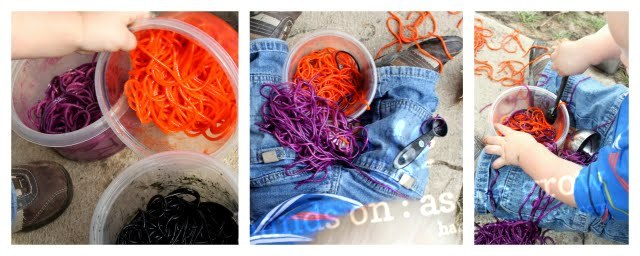 colored spaghetti sensory activity for toddlers