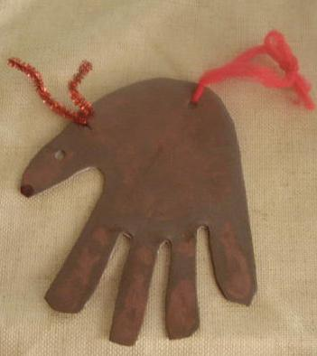 handprint Christmas ornament