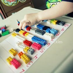 Counting with Legos & writing letters with legos