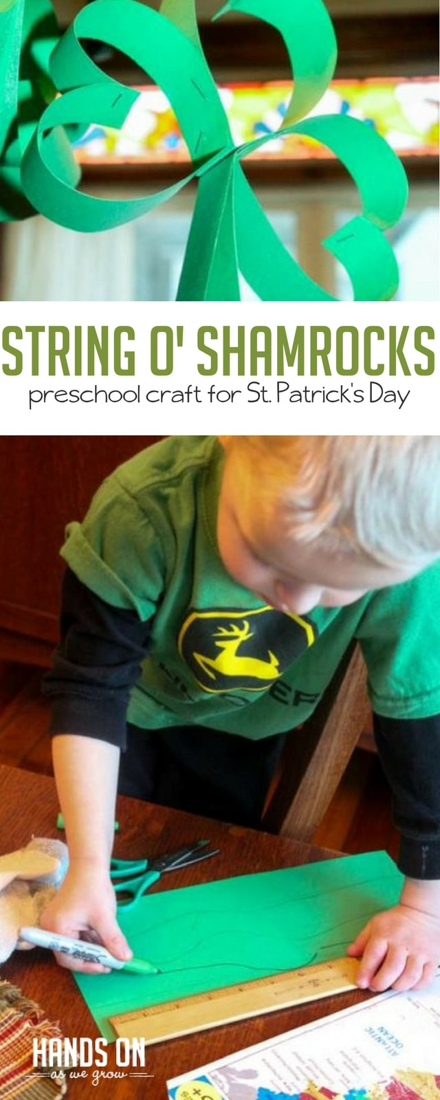 Preschool Craft: Shamrocks for St. Patrick\'s Day | Hands On As We Grow