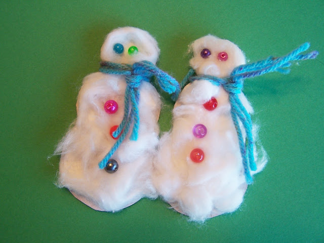 winter christmas craft snowman finger puppets