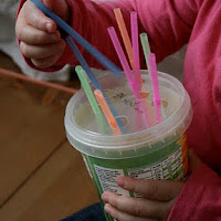 Use straws in fine motor activities