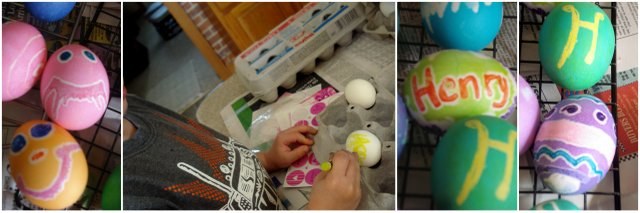 melted crayon decorated eggs