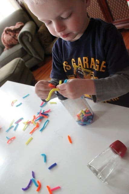 Toddler Fine Motor Activity with Pipe Cleaners