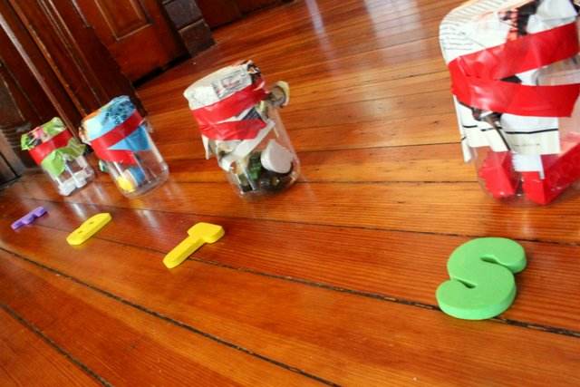 Homemade Letter Sound Punch Game Gross Motor Activity