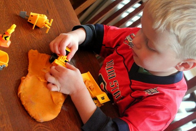 preschooler play dough construction site