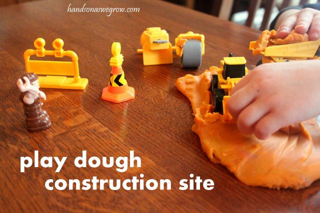 play dough construction site setup