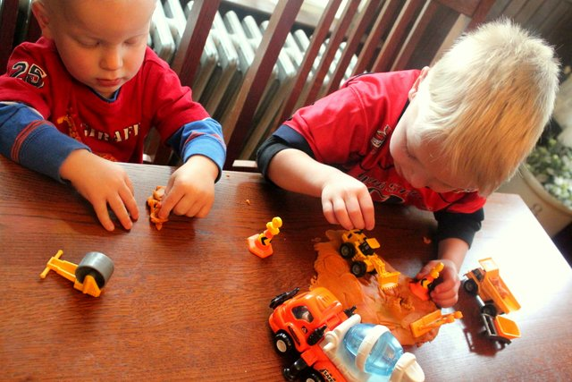 boys play dough construction site