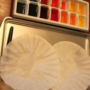 watercolor coffee filter setup