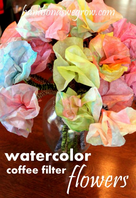 Mother's Day Craft watercolor coffee filter flower