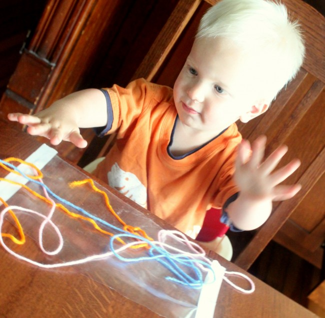 Toddler Sticky Art with Yarn
