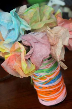 Mother's Day Yarn Wrapped Vase Craft for Kids