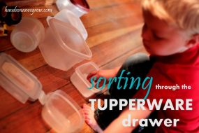Sorting through the Tupperware drawer