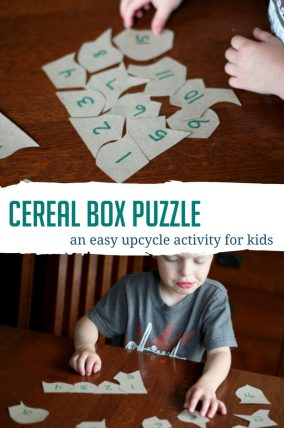 Upcycle empty boxes into cereal box puzzles for matching and problem solving practice