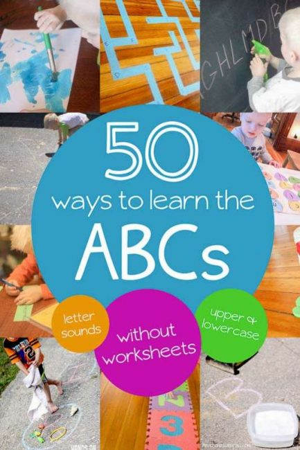 50 Alphabet activities for preschoolers to learn letter sounds, upper and lowercase letters and recognizing their letters -- all without worksheets.