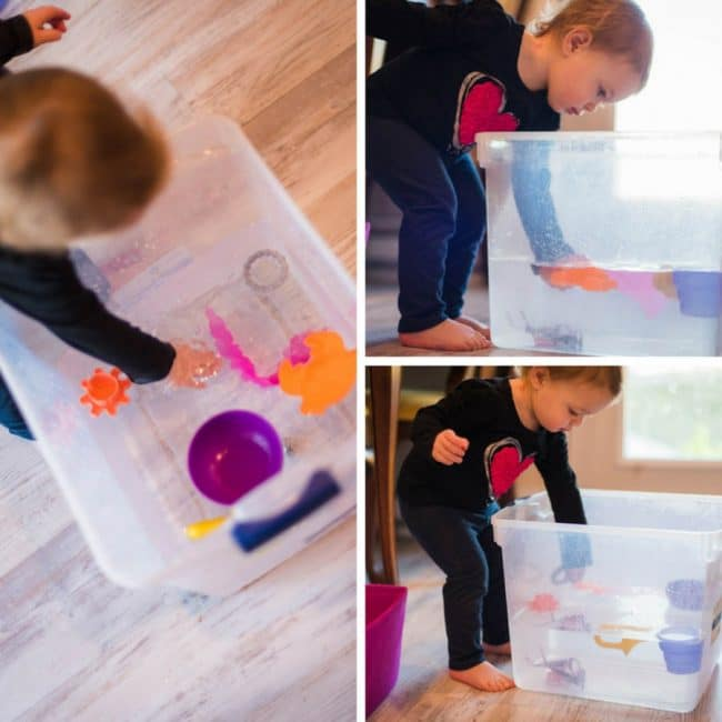A simple sink or float experiment is perfect for water-loving toddlers to find out what will float at the top or sink to the bottom