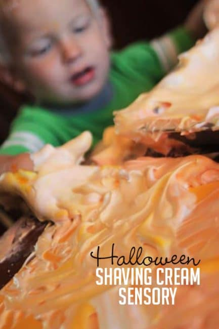 Add food coloring to your shaving cream sensory activity for extra Halloween spirit!