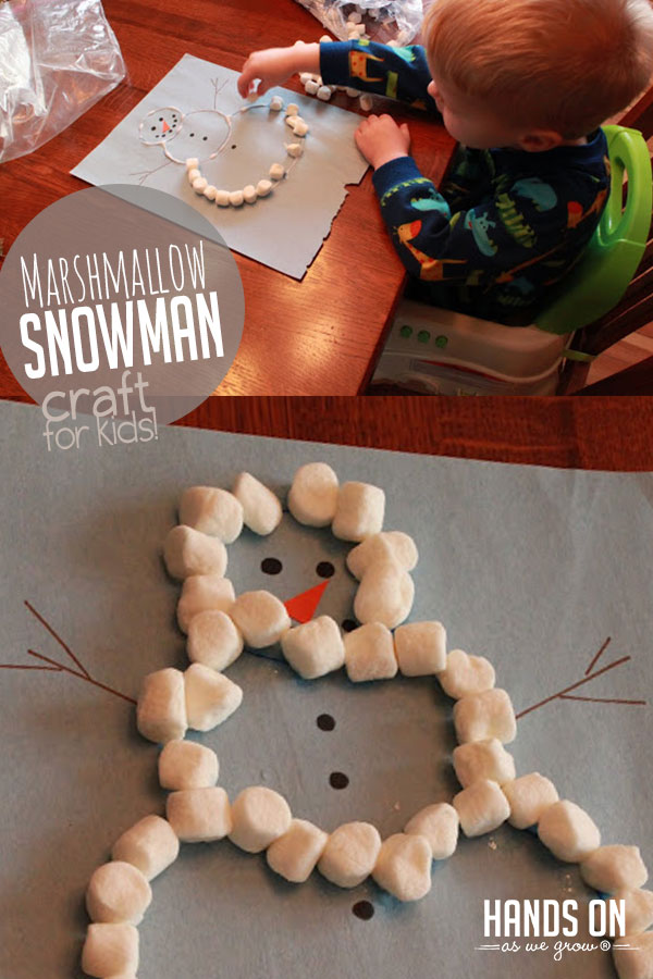 Make a sweet marshmallow snowman crafts with your kids. Squishing the marshmallows down also builds fine motor skills!