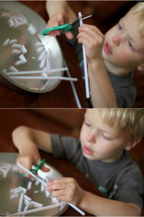 Cutting pieces of straws for shoestring necklace