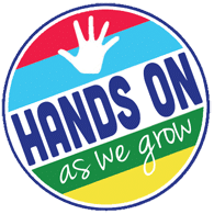 Hands on kids activites for hands on moms. Hands on as we grow logo.