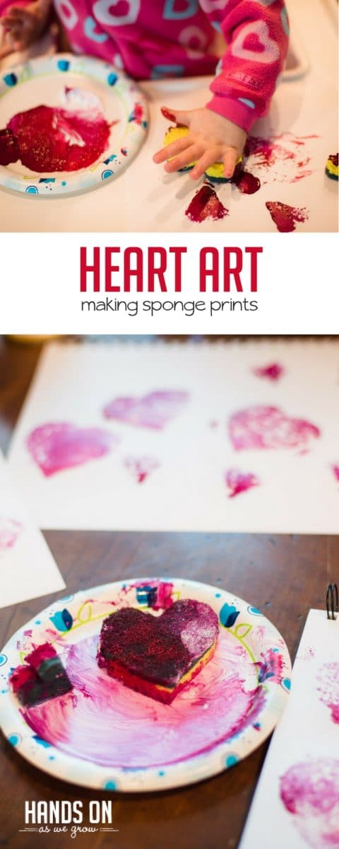 Sponge art hearts are fun to make as a Valentine's Day craft and art activity.