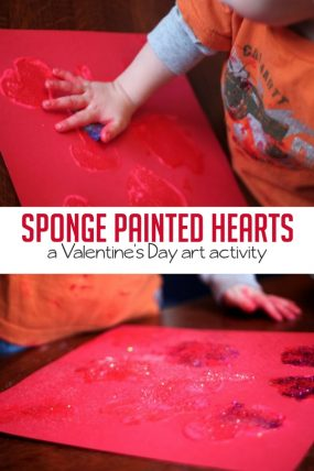 Sponge paint hearts for a fun Valentine's Day art activity